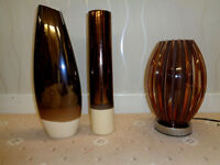 Two Brown Ceramic Vases and Modern Brown Lamp