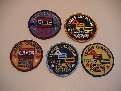Lot /5 Abc American Bowling Congress League Champion 1965-72 Tournament Patches