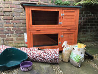 Two Story Rabbit Hutch with Accessories - Awesome condition!