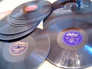 74 vintage LP records -  10 inch - 78 & 33 1/3 rpm see list