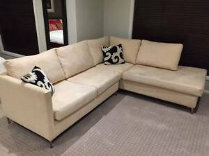 Nick Scali Suede Sofas 3 + 2 Seaters - Beige with Dunlopillo Foam Derrimut Brimbank Area Preview