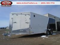 AMERALITE 7 X 23' Snowmobile trailer - enclosed - Aluminum -SAVE