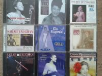 A collection of CDs by the legendary ladies of jazz (Sarah Vaughan, Ella Fitzgerald, etc.)