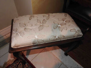antique bench Queen Anne style, new fabric