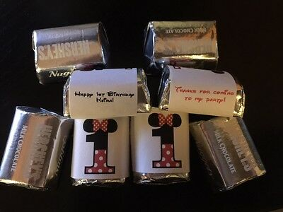 60 Personalized Minnie Mouse 1st 2nd Birthday Party Candy Wrappers Nugget favors