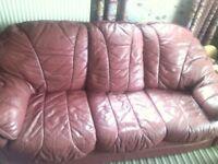 maroon leather sofa