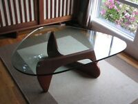 Isamu Noguchi Style Dark Walnut Designer Coffee Table with Glass Top | Brand New