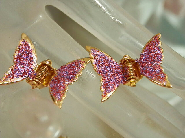 Super Cute Vintage 1960 Pink Butterfly Hair Clips 968jl