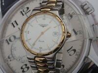 Excellent Longines Conquest L1.614.3 Swiss stainless & gold mens dress watch full strap