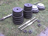 Dumbbell barbell Weights and Spinlock Bars 112.56 lb's 54.8 kg approx