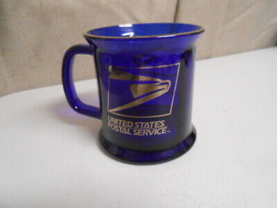 USPS Cobalt Blue Glass Coffee Mug Cup United States Postal Service USA Made 13oz