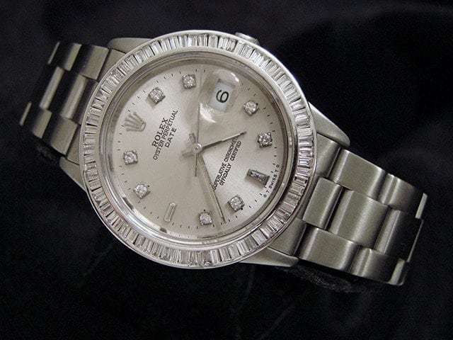 Mens Rolex Date Stainless Steel Watch Silver Diamond Dial 2.75ct Bezel 15200