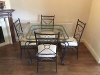 Cast Iron Glass Dining Table, 4 Chairs, Glass Coffee table and Glass Side Table