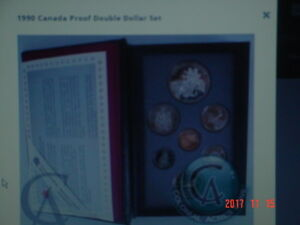 1990 CANADA PROOF DOUBLE DOLLAR 7 COIN SET.