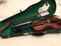 Antique Amati copy full size violin with bow, case and shoulder rest