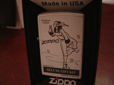 WINDY GIRL PINUP 1930'S REMAKE BLOWING LEAVES SKIRT ZIPPO LIGHTER MINT IN BOX