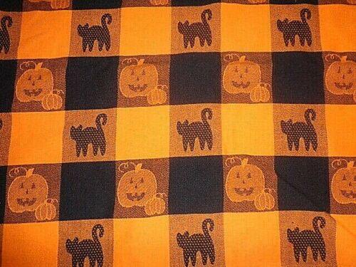 "Sonoma Halloween Orange Black Pumpkin Cats Jacquard Square Tablecloth 48"" x 50"""
