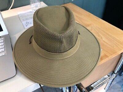 Henschel Hat Company Men's Beige Canvas Size Medium USA HH Chin Strap Nice!