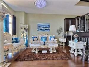Gorgeous French, Hand Carved Living Room Sofa Set with Marble