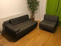 2 piece suite Habitat sofa: 2-person sofa and matching armchair. Excellent condition.