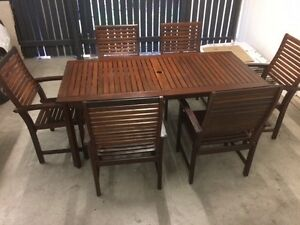 Quality timber 7 piece outdoor dining setting Alderley Brisbane North West Preview