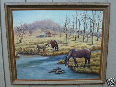 Equestrian oil painting by MARY BLEVINS three horses grazing stream house barn #