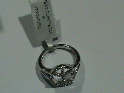 Sterling Silver Peace Sign Diamond Ring  Peace Sign All In Diamonds ! Size 7 A+