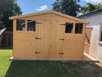 12x10 apex shed double doors 4 windows ( 2-4 weeks waiting time schedule )
