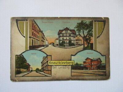 seltene AK Leipzig Knautkleeberg Seumestr.,Bahnhof ,Schule,Forsthaus  gel. 1917