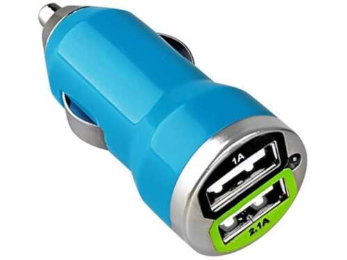 insten dual usb mini car charger adapter compatible with blackberry z10 blue. Black Bedroom Furniture Sets. Home Design Ideas