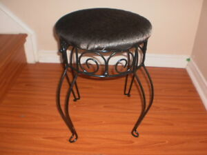 Vintage wrought iron vanity stool with brand new upholstery