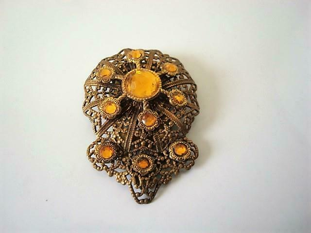 Art Deco Brass Filigree Fur Dress Clip With Mirrored Amber Glass Rhinestones
