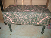 beautiful distressed table in green and pink with side leaf