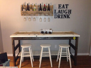 Rustic Bar/Table with Stools