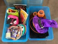 Halloween party items - 2 large boxes includes books, costumes and activities