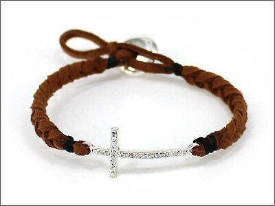 - Silver Toned Clear Rhinestone Adjustable Cross Brown Braided String Bracelet