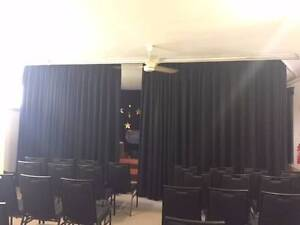 Black Wool (Fire Retardant) Stage Curtains with track Lane Cove Lane Cove Area Preview