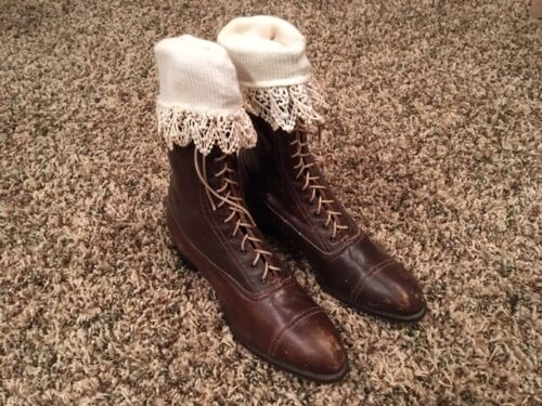 Antique Weatherbird Brown Leather Lace Up Children's Shoes Boots