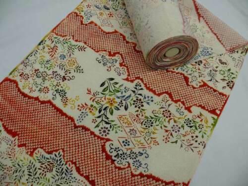 Cream & Dark Orange Silk Japanese HAMA-CHIRIMEN KIMONO Fabric Bolt Q248