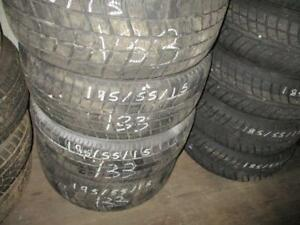195/55 R15 ROADSTONE EURO WINTER TIRES ON STEEL RIMS USED SNOW TIRES (SET OF 4 - $360.00) - APPROX. 85% TREAD