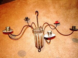 1800s PRIMITIVE incredibly rare TIN & WOOD CANDLE CHANDELIER urb