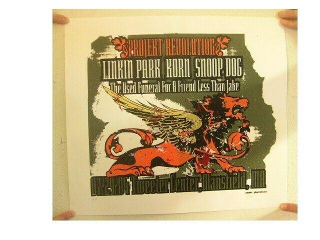 Linkin Park Silkscreen Poster Project Revolution Tweeter Center, Mansfield, MA