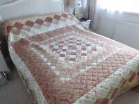 Fabulous Cotton Patchwork Design Quilt Reversible with matching pillow shams