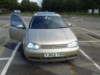 Golf 1.6SE - colour Gold, 17in alloys, sports exhaust, debadged, tinted windows, remote locking