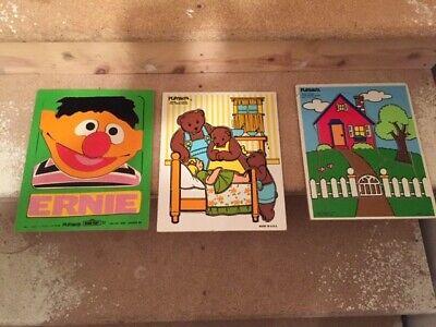(3) Vintage Playskool Wooden Board Puzzles