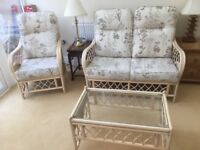 Oslo Conservatory furniture - 3 piece suite & glass coffee table,