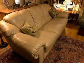 Natuzzi Cream Leather Sofa & Armchair