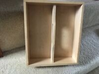 Ikea wooden two compartment cutlery box