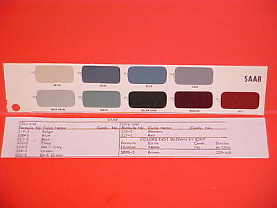 1950-1966 SAAB 92 92B 93B 93F 95 96 GT750 GT850 MONTE CARLO SPORT PAINT CHIPS for sale  Fort Wayne