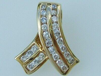 14k. Yellow Solid Gold Diamond Ribbon Slide Pendant 0.48 Cts. New